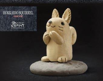 Ceramic Hokkaido Squirrel, Kawaii Hand-built Ceramic Art, Cute Animals, Desk Accessories