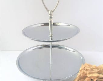 Silver 2 Tier Dessert Tray / Silver 2 Tier Dessert Platter / Silver sweets tray / Silver 2 tier display / Chrome Dessert Tray