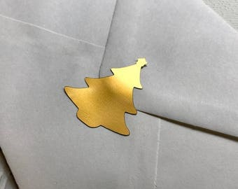 Gold Christmas Tree Envelope Seals - Holiday / Winter Envelope Stickers - Evergreen Tree Stickers for Journal or Diary - Festive Stickers