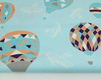 100% cotton fabric half a metre 50 x 160 cm, 100% cotton balls on blue background