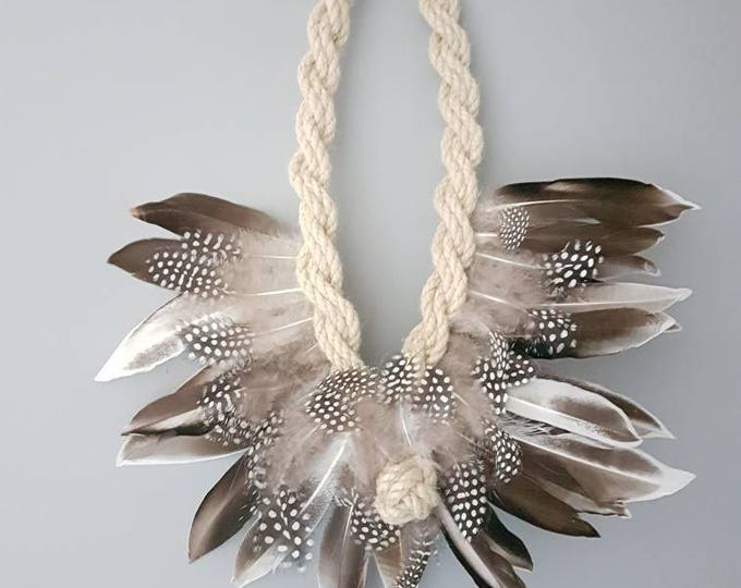 Feather wreath wall hanging bohemian wall art rope and feather shabby chic living room home decor
