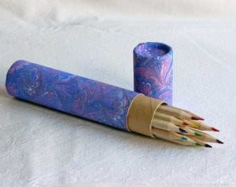 Pipe with 12 colored pencils lined with hand-decorated paper objects children learning colors art artistic painting design