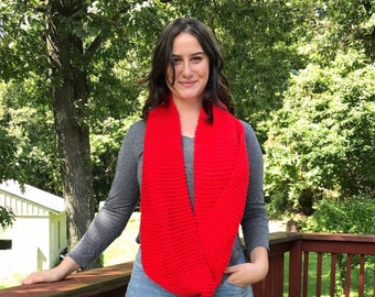 Bright Red Knitted Infinity Scarf