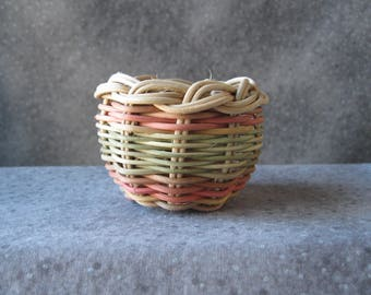 Miniature Bowl Basket, Red and Green