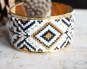 Bracelet manchette, manchette, bracelet perles tissées, bracelet jonc, bracelet perles Miyuki, bracelet femme, manchette large