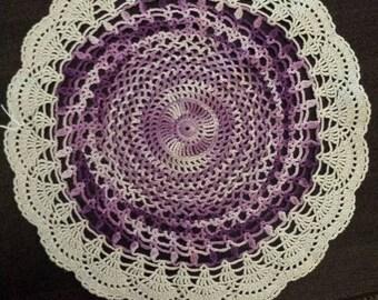 13 inch round crochet  doily purple ecru shades of purple