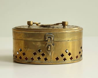 Vintage Hand Made Middle East Copper Pierced Jewerly Box