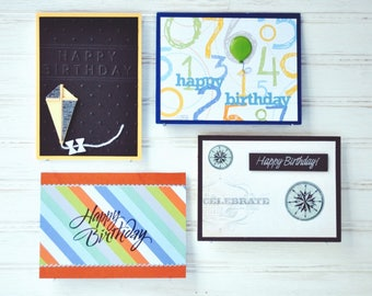 MALE BIRTHDAY Greeting Card Set - 2 Men's Birthday Cards and 2 Boys' Birthday Cards / 4 Unique Handmade Cards / Blank Cards / Cards for Him