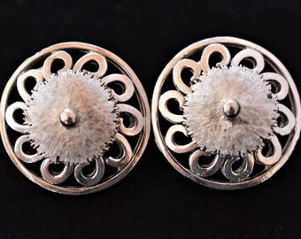 Vintage Geometric Flower Earrings Clip On Modernist Retro Costume Jewelry 1""