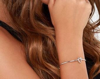 Knot Bracelet, Tie the Knot Bracelet, Silver Knot Bracelet, Love Knot Bracelet, Tie the Knot, Bridesmaid Gift, Silver Love Knot Bracelet