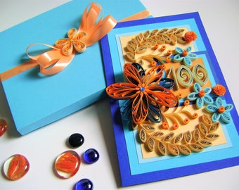 100th Happy Birthday Card,Quilling card,Congratulation Cards,Cute Card,Gift,All Ocassion Card,QuillingCard,Paper Flowers