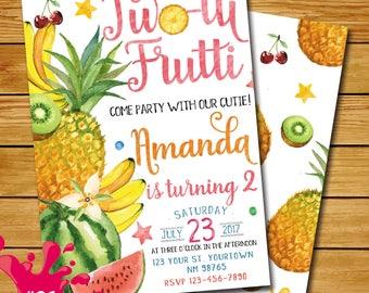 Twotti frutti birthday invitation, tutti frutti birthday invitation watercolor, tutti frutti party, two-tti frutti 2nd birthday tropical