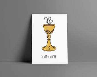 Boy • coffee • chalice poster & card