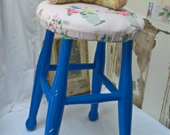 Small vintage stool with Cath Kidston fabric cover