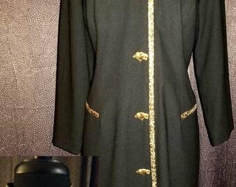 Vintage 70's / 80's Sandra Ow-Wing For N.R.1 Black Dress Sz 8 Mandarin Collar Leopard Trim