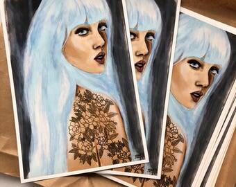 Blue Art Print 9x14 on Velvet Rag, Girl with Blue hair, Tattoos, Flowers, Floral