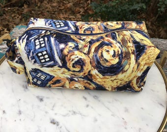 Toiletry Bag - Doctor Who Van Gogh TARDIS- School Supplies - Pencil and Electronics case- Valentine's Day Gift