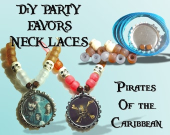 5 DiY Pirate kit Party favor necklaces. Caribbean beads favors craft crafting parties bottle cap necklace Boys and Girls