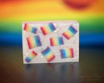 Rainbow Mango Glitter Soap - Coconut Milk Soap - Vegan - Detergent Free