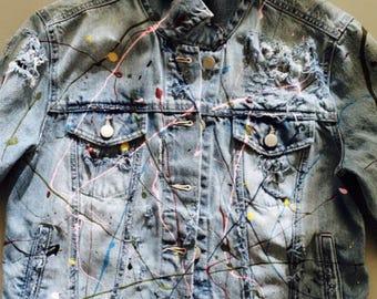 Custom Designed Distressed Splash Painted Denim Jean Jacket