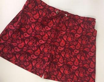 OddBoysClub Red Paisley Print Men's Board Shorts Swim Shorts Trunks with Airtex Mesh Lining