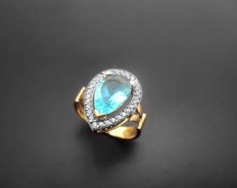Diamond Ring, 14k Yellow Gold, 14k White Gold,Spinel,Zirconia