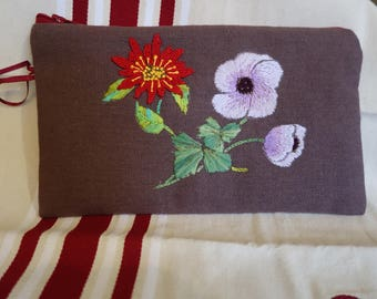 "Kit, ""red and purple"" hand embroidered on linen blend chocolate"