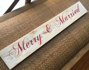 Merry and Married - Christmas Wedding Keepsake Sign
