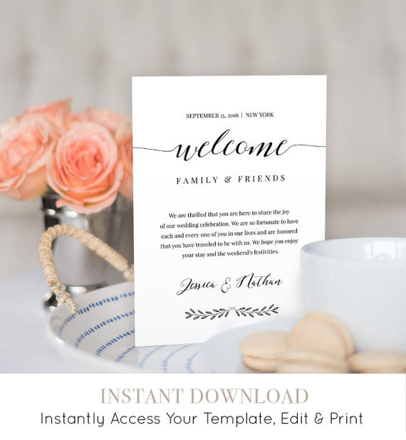 Welcome Bag Letter Template, Wedding Welcome Bag Note, Printable Wedding Itinerary, Agenda, Instant Download, Editable Template #024-105WB