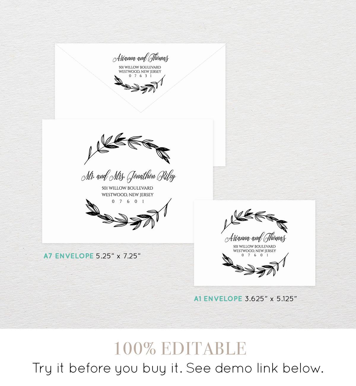 Rustic wedding calligraphy envelope template printable
