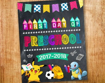 First day of Preschool Sign, First day of Preschool for Boy and Girl, 1st day of Preschool, First day of Preschool Poster Chalkboard
