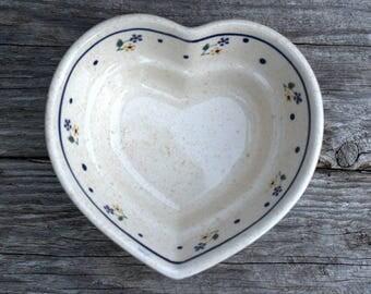 Polish Pottery, Heart Shaped Bowl, Vintage Boleslawiec Polish Pottery Dish, Ceramic Heart Bowl