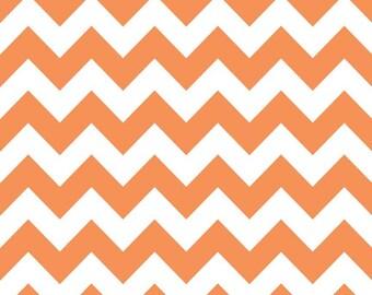 Riley Blake, Medium Chevron, Orange and White, fabric by the yard