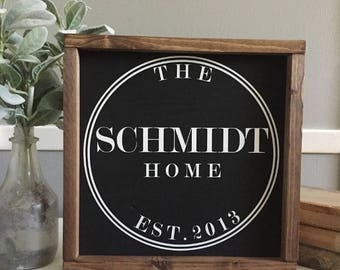 Last Name Established | Wood Sign