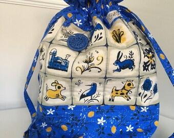 Unique Drawstring Project Bag Dorset Button Stich Holder Crochet Bag Knitting Bag Handmade