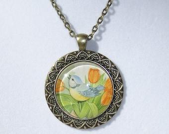 Bird Tulip Necklace, Pendant, Glass Dome Pendant, Vintage Print, Handmade, OOAK, Necklace, Handmade Jewelry, B;uebird, Tulips, Songbird