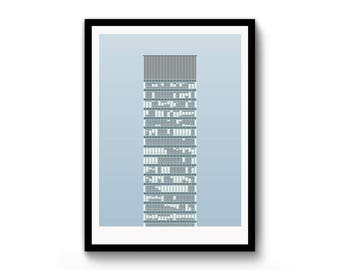 The Arts Tower / Sheffield / Modernist Wall Art / Mid Century / A3 Print