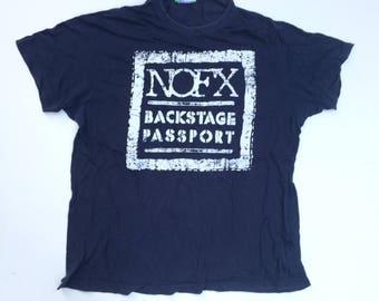 Vintage NOFX Band T shirt Back Stage Passport