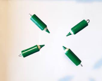 4 small colored pencils handmade green glitter 20 mm - charm fimo - atmosphere disco - teacher thanks - school - kawaii
