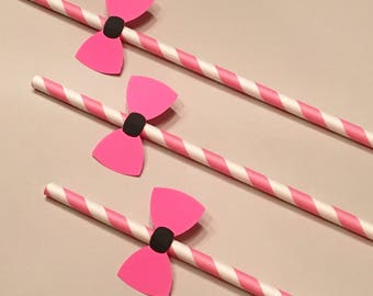 12 Pink Bow Straws Pink and Black Straws Baby Shower Straws Wedding Shower Straws Birthday Straws Girl Straws Bachelorette Party Straws