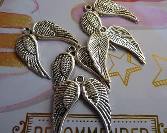 Set of 5 charms in antique silver angel wing