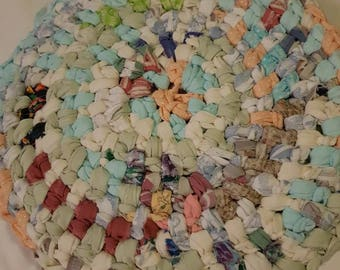 Set of 6 round rag rug placemats
