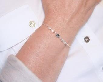 Bracelet Swarovski pearls and Crystal, silver