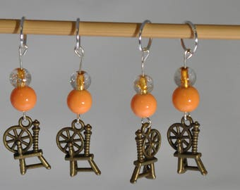 Spinning Wheel Knitting Stitch Markers Set of 4