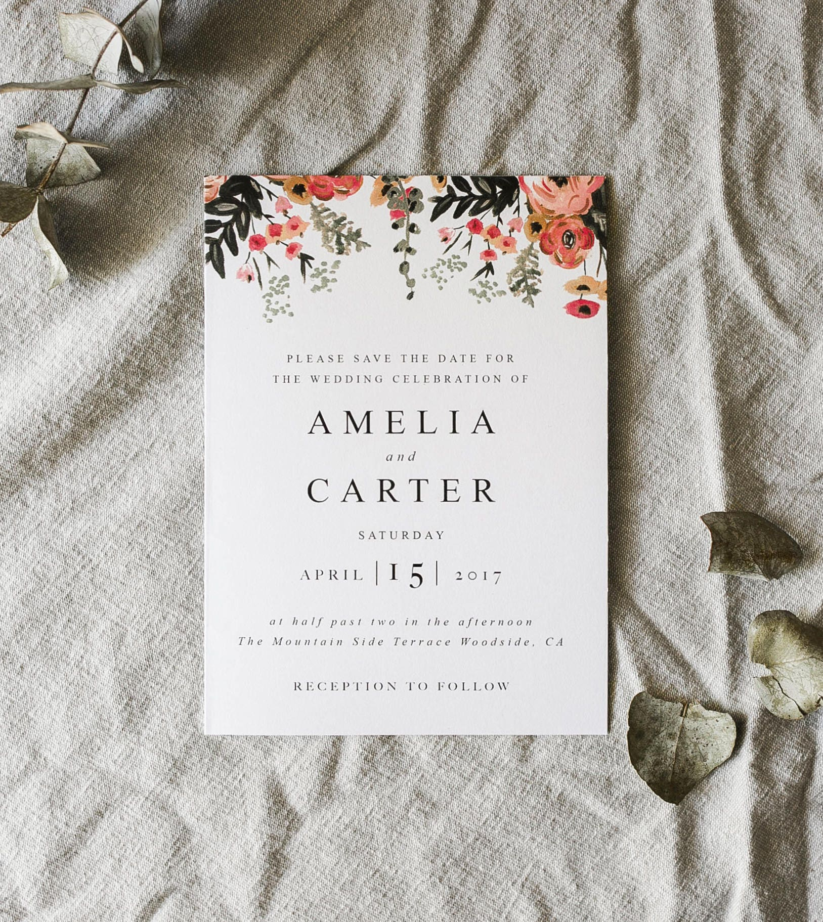 Printable Watercolor Botanical Wedding Invitation, Greenery ...