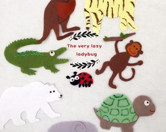 The Very Lazy Ladybird Felt Board Story Felt/Flannel Board/Imagination/Preschool/teaching resource/Handmade/Animals/Felt Board Activity