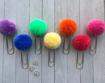 Custom Rainbow Pompom Paperclip Bookmarks, Rainbow Pompom Bible Bookmarks, Bookmark Favors, Bookmark for Books, Book lover gift