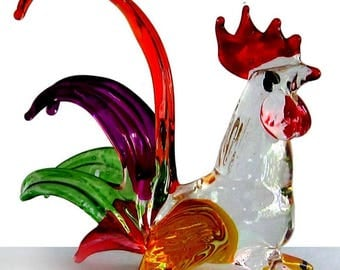 Fabulous glass figurine - rooster