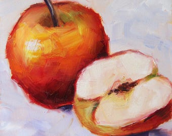 Still life with apples, original fruit painting, red apple, oil painting