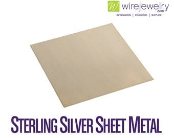 Sterling Silver Sheet Metal, Dead Soft, 6 Inch Width by 1 Inch Length, Various Gauges